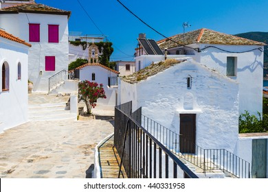 Skopelos, Greece - 27 July 2015: View of buildings in Skopelos Town, in the Greek Sporades Islands, a popular tourist destination in the Mediterranean.