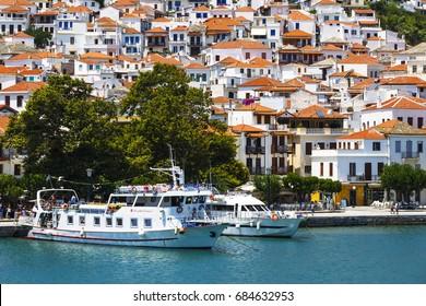 Skopelos, Greece - June 14, 2017: View of the harbour in Skopelos town, Greece.