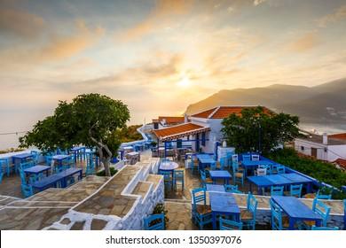 Skopelos, Greece - June 15, 2017: Restaurant on the castle hill in Skopelos town, Greece.