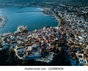 Skopelos harbor and town from above, island of Skopelos, Greece,