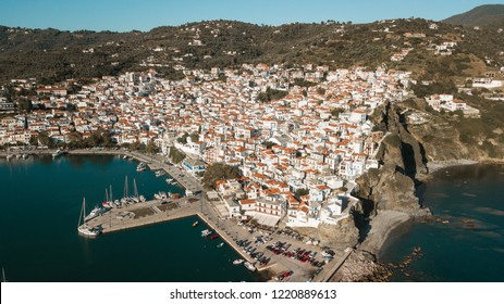 Skopelos harbor and town, island of Skopelos, Greece, Northern Sporades - Drone Panoramic Image From Above