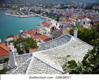 SKOPELOS ISLAND, GREECE - SEPTEMBER 16, 2009: Panoramic view on the rooftops of Skopelos, capital of the Greek island of the same name, which belongs to the Northern Sporades group.