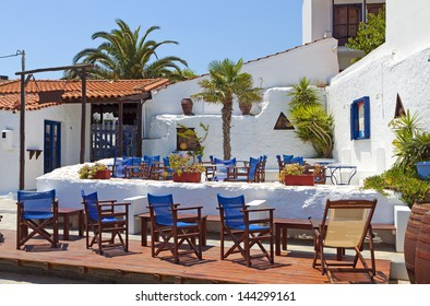 Skopelos island in Greece. View of typical traditional architecture
