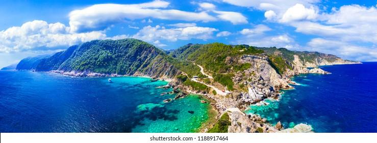 Skopelos island. impressive view from Agios Ioanis church. Sporades, Greece