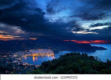 SKOPELOS ISLAND, NORTHERN SPORADES, GREECE. Panoramic view of Skopelos town from Palouki mountain.