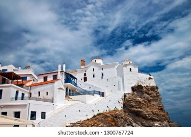 "SKOPELOS ISLAND, NORTHERN SPORADES, GREECE. The church of Virgin Mary (known as ""Panagitsa Tower"") in Skopelos town"