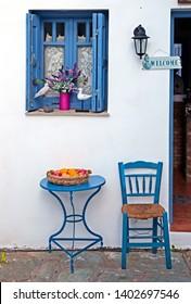 "SKOPELOS ISLAND, NORTHERN SPORADES, GREECE- June 20, 2018. Beautiful, colorful ""details"" at café ""Thalassa"", Skopelos town,"