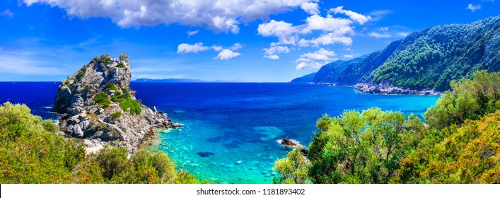 Skopelos island. view of Agios Ioanis church on the rock, famous touristic attraction. Sporades, Greece