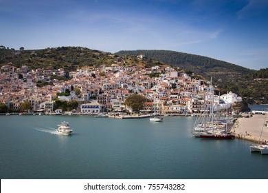 Skopelos Old Town seen from the approaching ferry, Skopelos, Greece
