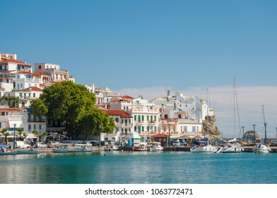 Skopelos town, Greece - 05 31 2013 : Panoramic view over main part of Skopelos town, Skopelos island in Greece on a sunny day