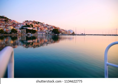 Skopelos town harbour at sunrise
