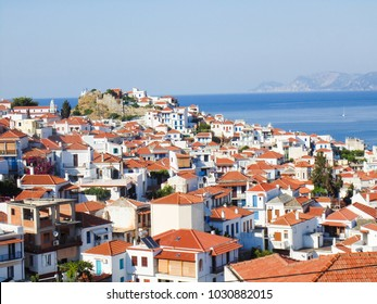 Skopelos town view from a hill