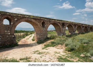 The Skopje Aqueduct on a sunny day, Skopje, North Macedonia