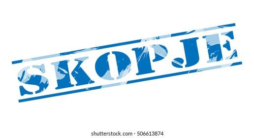 skopje blue stamp on white background