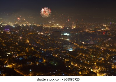 Skopje city at New Year Eve; Macedonia