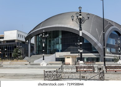 Skopje, FYROM - August 8, 2017: City center of Skopje, is the capital and largest city of the country, FYROM. It is the country's political, cultural, economic, and academic center.