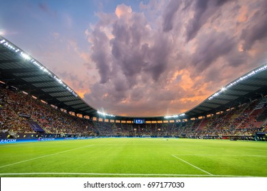 Skopje, FYROM - August 8,2017: Interior view of the full at Philip II Arena Stadium in Skopje during the match UEFA Super Cup final soccer between Real Madrid vs Manchester United