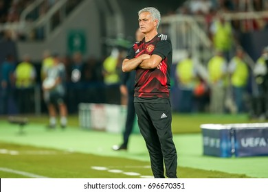 Skopje, FYROM - August 8,2017: Manchester United coach Jose Mourinho during the UEFA Super Cup Final match between Real Madrid and Manchester United at Philip II Arena in Skopje