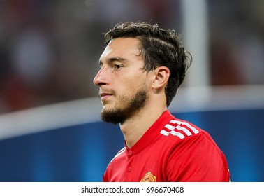 Skopje, FYROM - August 8,2017: Manchester United Matteo Darmian during the UEFA Super Cup Final match between Real Madrid and Manchester United at Philip II Arena in Skopje