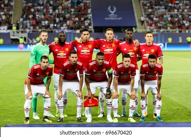 Skopje, FYROM - August 8,2017: Manchester United players pose for a pictures at the start of the UEFA Super Cup Final match between Real Madrid and Manchester United at Philip II Arena in Skopje