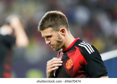 Skopje, FYROM - August 8,2017: Manchester United Michael Carrick during the UEFA Super Cup Final match between Real Madrid and Manchester United at Philip II Arena in Skopje