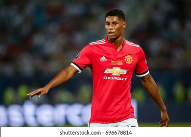Skopje, FYROM - August 8,2017: Manchester United Marcus Rashford during the UEFA Super Cup Final match between Real Madrid and Manchester United at Philip II Arena in Skopje