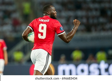 Skopje, FYROM - August 8,2017: Manchester United Romelu Lukaku during the UEFA Super Cup Final match between Real Madrid and Manchester United at Philip II Arena in Skopje