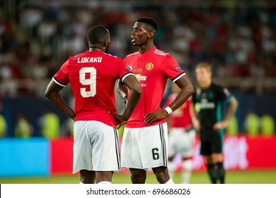 Skopje, FYROM - August 8,2017: Manchester United Paul Pogba (L) and Romelu Lukaku (R) during the UEFA Super Cup Final match between Real Madrid and Manchester United at Philip II Arena in Skopje