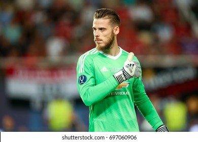 Skopje, FYROM - August 8,2017: Manchester United David de Gea during the UEFA Super Cup Final match between Real Madrid and Manchester United at Philip II Arena in Skopje