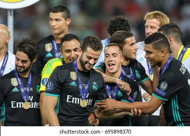 Skopje, FYROM - August 8,2017: Real Madrid celebrate with the trophy after defeating Manchester United 2-1 during the Super Cup final soccer match at Philip II Arena in Skopje