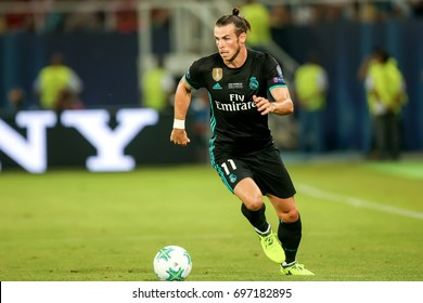 Skopje, FYROM - August 8,2017: Real Madrid Gareth Bale during the UEFA Super Cup Final match between Real Madrid and Manchester United at Philip II Arena in Skopje