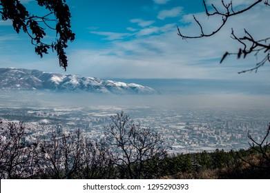 Skopje, Macedonia- 01.26.2019: Snow in Skopje. A view from Vodno mountain near the city.