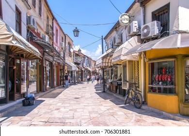 Skopje, Macedonia - 1 June, 2017: Old Bazaar of Skopje, is a bazaar located in Skopje. It has been Skopje's centre for trade and commerce since at least the 12th century.