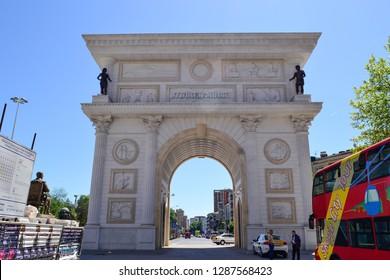 Skopje, Macedonia, 22. April, 2018. Porta Macedonia, aka Gate Macedonia. Big white gate in center of city.