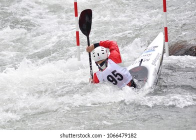 Skopje, Macedonia, April 07,2018. On the river Treska was held 50-th annual International Ilinden Canoe Slalom competition– IKAS.