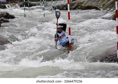 Skopje, Macedonia, April 07,2018. On the river Treska was held 50-th annual International Ilinden Canoe Slalom competition– IKAS.