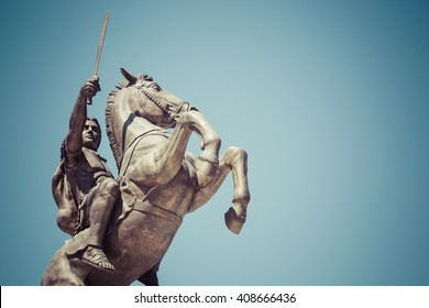 "SKOPJE, MACEDONIA - APRIL 14, 2016: Warrior on a Horse statue ""Alexander the Great"" on Skopje Square"