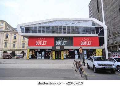 Skopje, Macedonia - April 4, 2017: View from the central district of Skopje, the Macedonian capital. OVS Outlet center at the Macedonian Square.