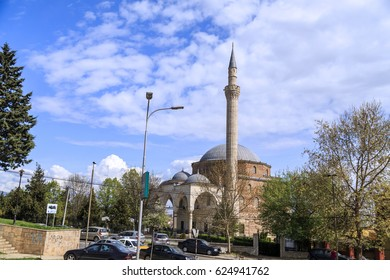 Skopje, Macedonia - April 5, 2017: Mustafa Pasha Pasha Mosque, an old Ottoman Turkish mosque in the Bushi district of Skopje.