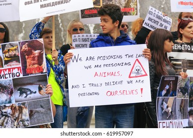 Skopje, Macedonia - April 9, 2017: Civilians protesting the violence towards to street dogs,  solidarity for animal rights at the Macedonian Square of Skopje, Macedonia.