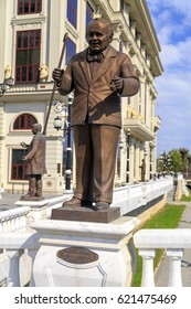 Skopje, Macedonia - April 9, 2017: Bronze monumental sculpture of Petre Prlicko, famous Macedonian dramatic actor in downtown Skopje, Macedonia
