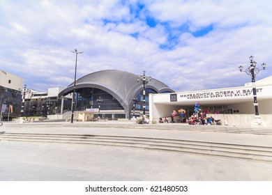 Skopje, Macedonia - April 9, 2017: View from downtown Skopje, the Macedonian capital. Mother Teresa Sqaure and the Opera House of Macedonia