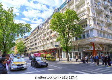 Skopje, Macedonia - April 9, 2017: View from the central district of Skopje, the Macedonian capital.