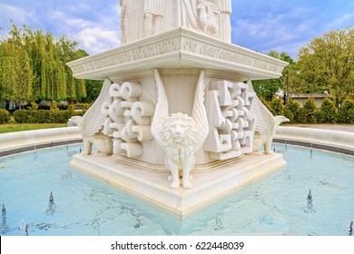Skopje, Macedonia - April 9, 2017: Marble carving and relief detail from Crkva Sv. Bogorodica church fountain in Skopje; Macedonia