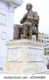 Skopje, Macedonia - April 9, 2017: Bronze sculpture of Pavel Shater in downtown Skopje, Macedonia