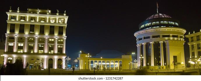 SKOPJE, MACEDONIA - DECEMBER 1 2016: Night architecture of Skopje city, the capital of Macedonia