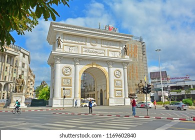 SKOPJE, MACEDONIA (FYROM) - AUGUST 14, 2017 - The controversial Porta Macedonia triumphal arch located on Pella Square
