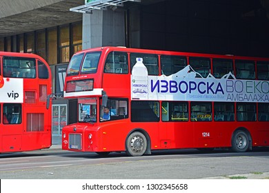 SKOPJE, MACEDONIA (FYROM) - AUGUST 14, 2017 - A typical Chinese Yutong ZK6116HGS double decker bus, on JSP Skopje service in the centre of Macedonian capital