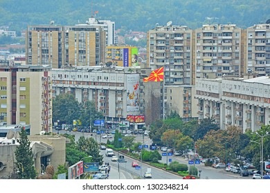 SKOPJE, MACEDONIA (FYROM) - AUGUST 14, 2017 - Panorama view of Skopje city centre, covered in smog