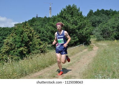 Skopje, Macedonia, July 01 2018. 17th European Mountain Running Championships - Skopje 2018. Competitors run along the tracks of Mount Vodno. (category Men U 20)